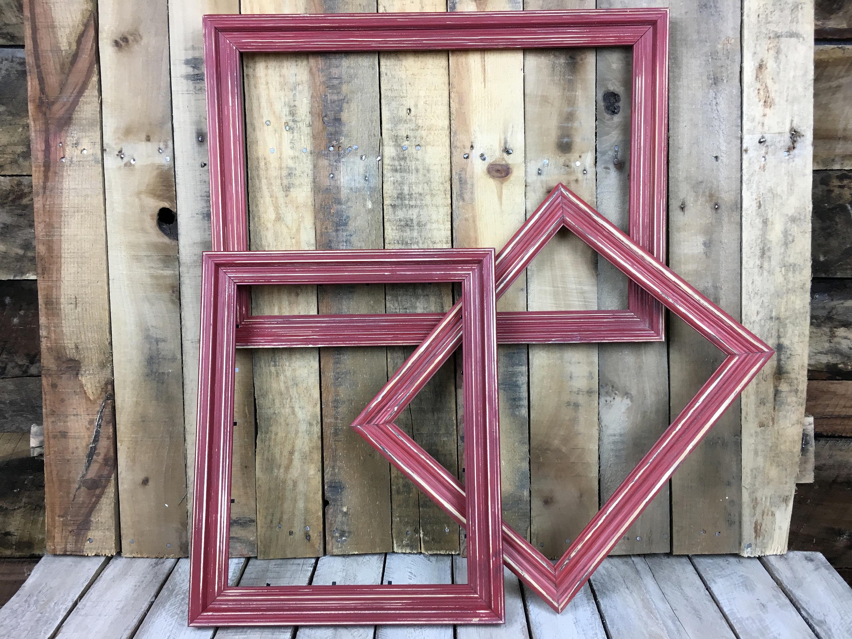 EN venta - Colonial cuadro rojo marco conjunto de 3, rústicas ...