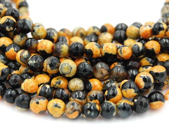 """Fire Agate in 6mm Faceted Gold Espresso,  - 15"""" strand"""