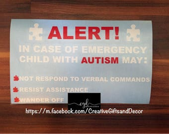 Emergency Alert Autism Decal