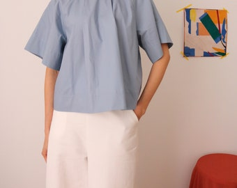 Origami Blouse -structured architectural pleated crop blouse in blue grey