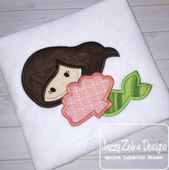 Mermaid 102 Applique embroidery Design - mermaid Applique Design - shell Applique Design - summer Applique Design - beach Appliqué Design