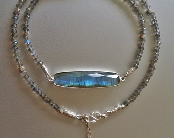 Blue Flash Labradorite Gemstone NECKLACE with Fine Silver Beads, Hook Clasp, Extender Chain and Flower Charm