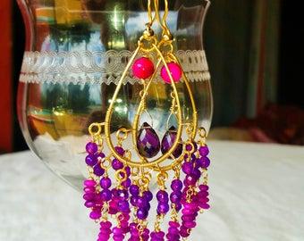 Amethyst Chandelier Earrings , 14K Gold Filled Large Chandelier Earrings, Fashion, Trendy, Handmade Jewelry