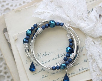 Blue Wedding Jewelry - Multi Strand Bracelet - Mother of the Bride Gift - Gift for Mom - Romantic Bracelet for Her - Date Night