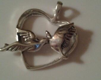Love Birds in a Heart Sterling Silver Charm