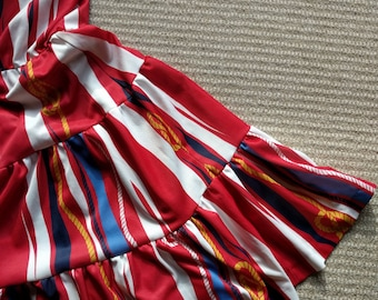 Vintage red white striped spaghetti-strap tiered ruffle sundress rope motif made in France size XS 2 US / 6 Aus UK