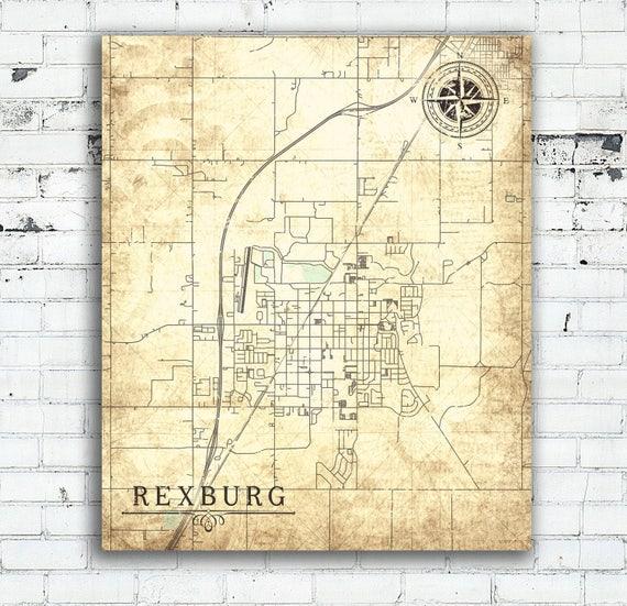 REXBURG ID Canvas Print Idaho Id Vintage map Rexburg Id