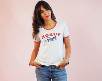 """Ringer tee """"Morue Forever"""" Vintage style, cream heather grey and heather crawberry 100% organic cotton"""