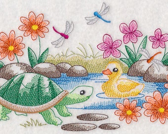 SPRINGTIME POND SCENE Turtle, Duck & Dragonflies in Colorful Toile Machine Embroidered Quilt Square, Art Panel