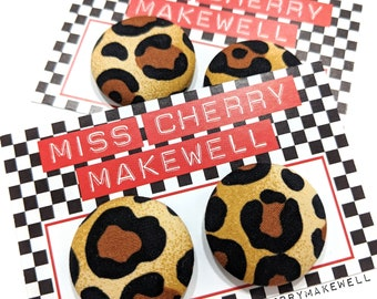 Leopard Print Fabric Button Rockabilly 1950's Pin Up Punk Vintage Inspired Stud or Clip On Earrings By Miss Cherry Makewell