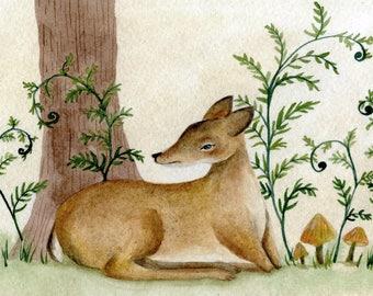 Woodland Deer, original watercolor illustration