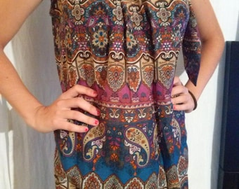 Printed silk sleeveless tunic