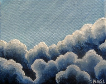 Skye Blue Sky, original oil painting clouds box canvas