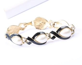 Vintage 1960s Trifari Bracelet Gold Tone with Black Enamel and Faux Pearl