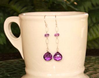 Amethyst Earrings, Dangle Earrings, Minimalist, February Birthstone, Simple Earrings, Purple Gemstone Earrings, Lightweight Amethyst