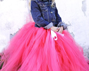 Paris Pink - Hot Pink Tulle Skirt - Bright Pink Tutu - Made to order - flower girls, photography prop, wedding, holidays, long tulle skirt