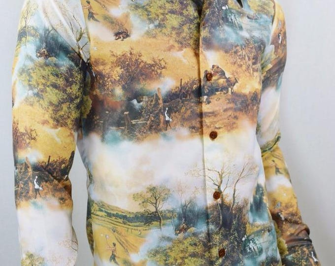 Vintage 1970's Chemise Playboy LeRoy Neiman Femlin Nude Ladies Pin Up DiScO Shirt S M
