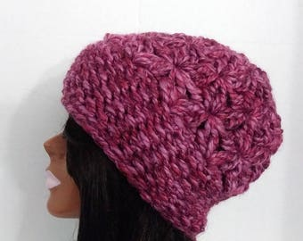 Crochet Hat,  Womens Beanie,  Beanie Hat , Slouchy Hat, Colorful Hat, Pink Hat,  Winter Hat , Wool Blend Hat,  Slouchy Beanie,
