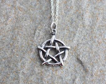 Pentagram pendant etsy sterling silver pentagram necklace silver pentagram pendant silver pagan necklace silver pagan pendant aloadofball Images