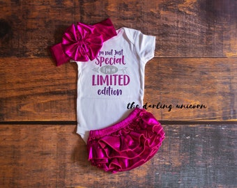 I'm not just special, I'm a limited Edition baby girl outfit, infant bodysuit, coming home outfit, infant outfit, newborn outfit, hot pink