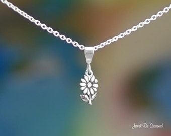 "Tiny Sterling Silver Daisy Necklace 16-24"" Chain or Pendant Only .925"
