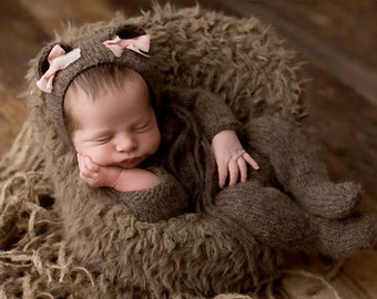Bear newborn prop, bear prop, newborn footed sleeper, newborn photo prop, newborn bear hat, newborn romper, newborn bear outfit