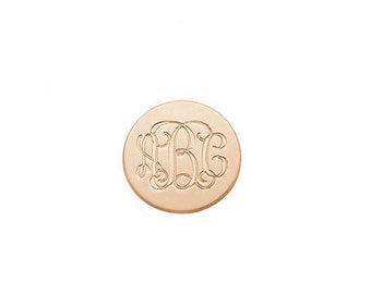 Initials Disc monogram Brooch - 1 inch to 3 inches any initial silver monogram Brooch in Rose Gold 925 sterling silver - Name Pin -