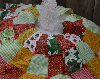 Vintage patchwork Christmas tree skirt