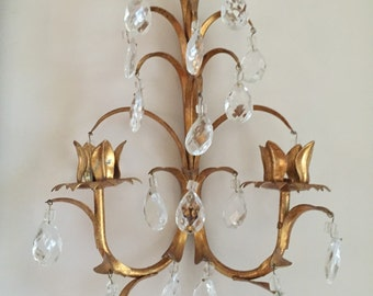 SALE****A Pair Italian Gold Tole Wall Sconces   A Pair