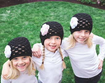 Black Beanie, Crochet Hat For Kids, Lace Crochet Hat, Girls Hat with Flower, Knit Hat For Kids, Spring Hat Kids, Cute Kids Hat, Summer Hat