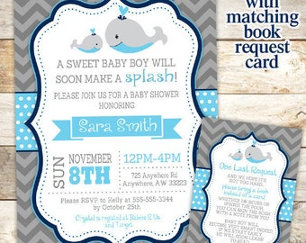 Whale Baby Shower Invitation - Nautical Baby Shower - Baby Whale - Baby Shower Invitation