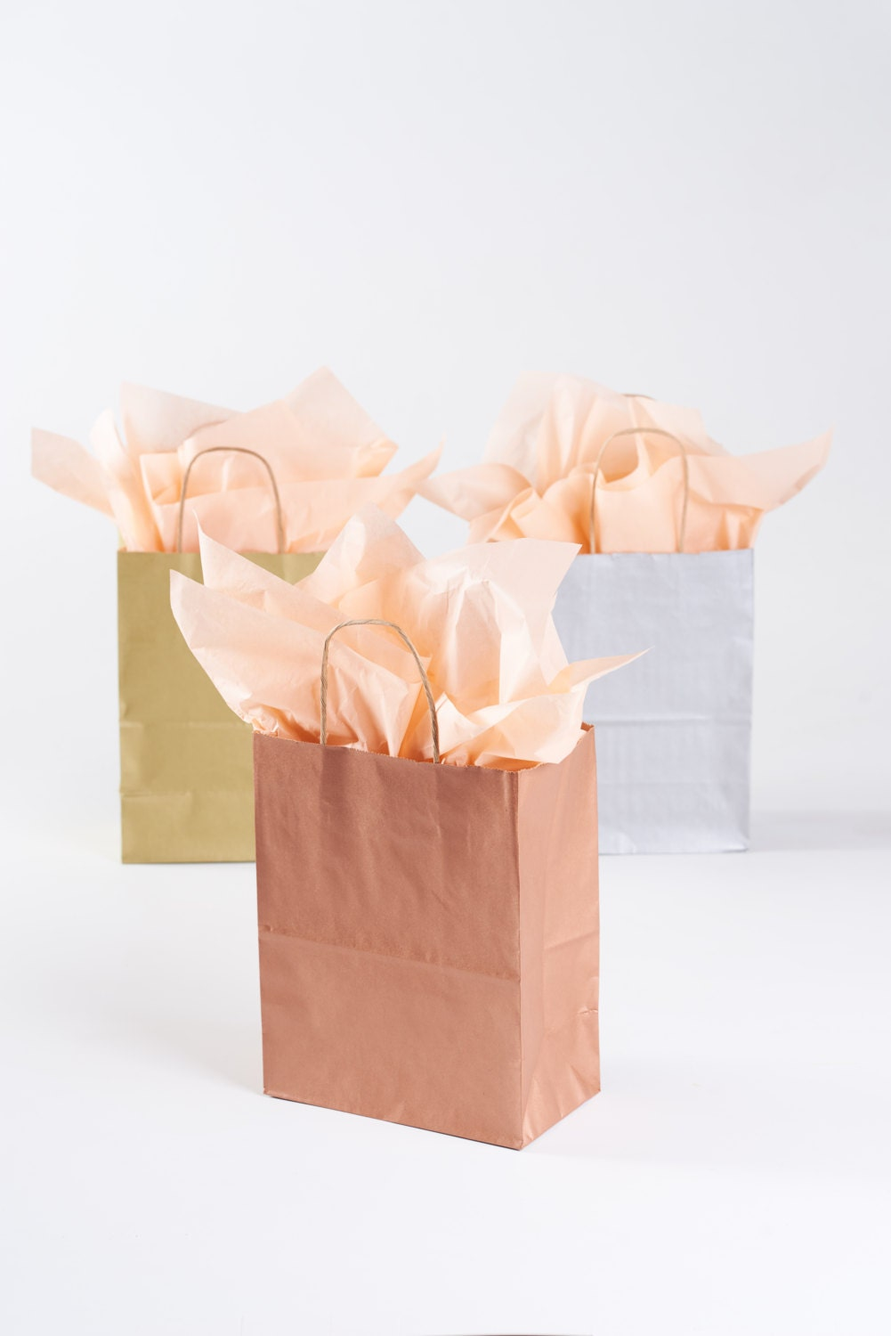 5 rose gold gift bags with handles kraft paper bag with zoom jeuxipadfo Choice Image