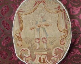 Antique Aubusson Tapestry Pillow French 18th Century