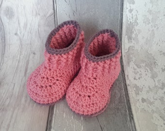 Baby Booties - Cotton crochet boots,  baby girl boots, handmade baby shoes, pink baby shoes