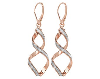 9ct Rose Gold Stardust Twisted Spiral Long 45mm Drop Earrings Hallmarked
