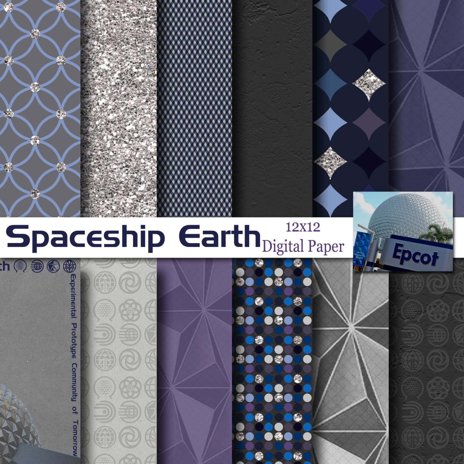 Disney epcot spaceship earth inspired 12x12 digital paper zoom malvernweather Image collections