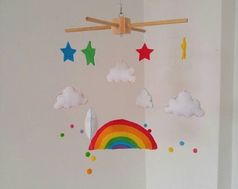 Rainbow and little clouds nursery mobile, Handmade mobile perfect for any nursery