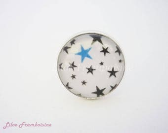 "Ring cabochon ""black and blue stars"""