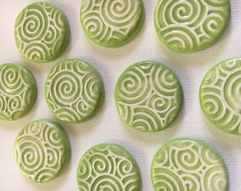 10 Handcrafted Lime Green And White Tiles That Can Be Used In Mosaic And Other Mixed Media Projects