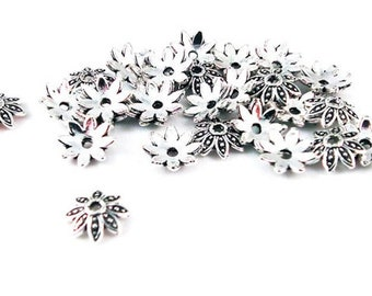 200 beads caps flower 8 mm matte silver plated nickel free