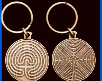 Labyrinth Key Chain- Gold Tone -2 Sided- 11 & 7 Circuit Labyrinth