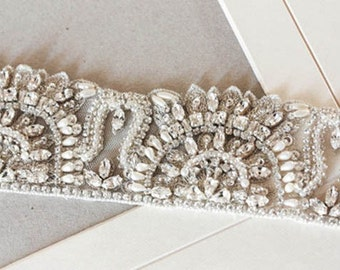 Wedding Crystal Sash-  Nervi 18 inches  (Made to Order)