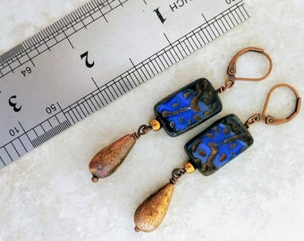 Earrings in Earthy Blue Czech Glass & Antique Copper Handmade