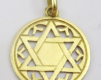 Vintage Small Handmade 18 karat Gold Star of David Pendant