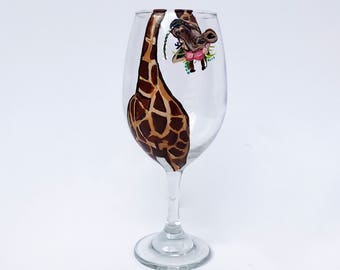 La Giraffe Wine Glass – 21 oz Hand Painted Wine Glasses