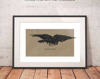 The Raven, Nevermore, Edgar Allan Poe, raven wall art, raven print, macabre art, goth art, Halloween art, macabre decor goth decor, dark art