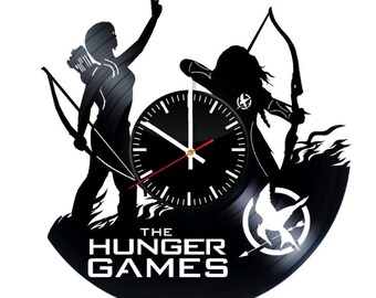 The Hunger Games Vinyl Wall Clock Catching Fire Mockingjay Wall Art Room Decor Party Supplies Decoration Gift For Fans Vintage Modern Style
