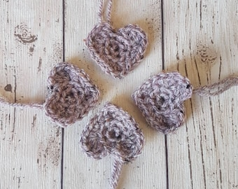 Crochet Tweed Hearts, Valentine hearts, crochet appliques, heart embellishments, cardmaking, scrapbooking hearts, Wedding, Valentine's