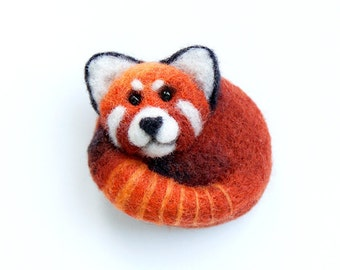 Red panda brooch Hand Felted Brooch Wool Animal Red Broosh Panda Pin Eco friendly Personalised gifts Gifts for her