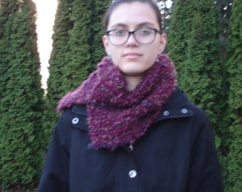 Warm knitted cowl in a beautiful burgandy